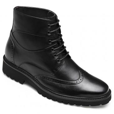 CHAMARIPA รองเท้าบูทหุ้มข้อหนังสีดำสำหรับผู้ชาย 7 ซม