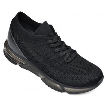 CHAMARIPA รองเท้าเพิ่มความสูงสำหรับผู้ชายรองเท้ากีฬาส้นซ่อน บินสีดำถักรองเท้ากีฬา 7 ซม. สูง