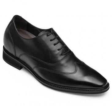 CHAMARIPA รองเท้า Oxford สำหรับผู้ชายแต่งเพิ่มความสูงรองเท้าหนัง Wing-Tip oxford สีดำ 8 ซม