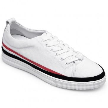 CHAMARIPA รองเท้าลิฟท์สำหรับผู้ชายรองเท้าผ้าใบทรงสูงสีขาว 6 ซม