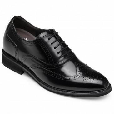 CHAMARIPA ลิฟท์ผู้ชายชุดอ๊อกฟอร์ดรองเท้าสูงหนังสีดำรองเท้าหุ้มส้น 8 ซม