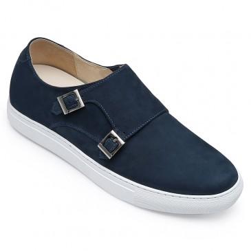 CHAMARIPA รองเท้าลิฟท์สำหรับผู้ชายลำลองเพิ่มความสูงรองเท้าผู้ชายสีน้ำเงินนูบัคสายรัดรองเท้าผ้าใบสูง 6 ซม