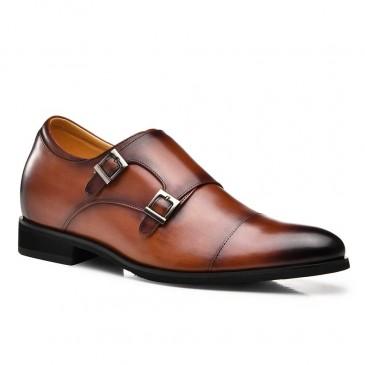 CHAMARIPA ผู้ชายเพิ่มความสูงพระรองเท้าแต่งตัวสำหรับผู้ชายหนังลูกวัวสีน้ำตาล 7CM