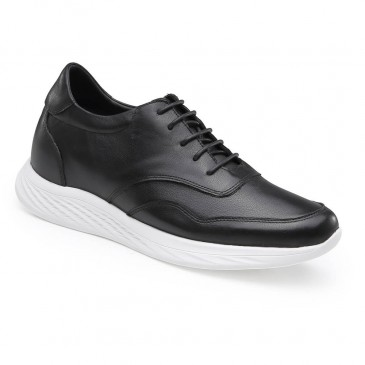 รองเท้าผ้าใบลำลองที่เพิ่มความสูงหนังสีดำความสูงเพิ่มขึ้นรองเท้าผู้ชาย 7 ซม