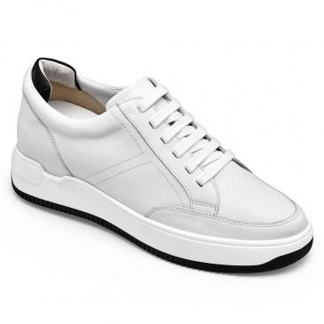 CHAMARIPA ลิฟท์รองเท้าผ้าใบสำหรับผู้ชายหนังสีขาวรองเท้าส้นซ่อน 7CM