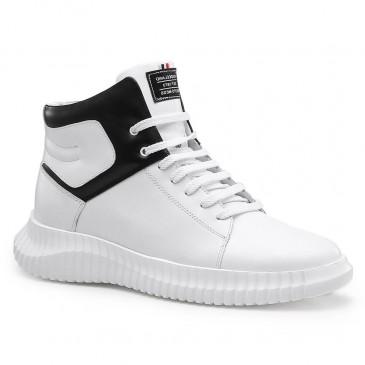 รองเท้าผ้าใบเพิ่มความสูงสีขาวรองเท้ากีฬาสีขาวเพิ่มความสูง 7 ซม