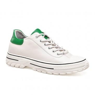 CHAMARIPA สีขาวของผู้หญิงเพิ่มความสูงรองเท้าผ้าใบรองเท้าหนังยกผู้หญิง 6 ซม