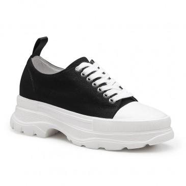 CHAMARIPA ลิฟท์ของผู้หญิงรองเท้าผ้าใบสีดำซ่อนรองเท้าส้นสูงรองเท้าลำลองสำหรับผู้หญิง 8 เซนติเมตร