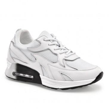 CHAMAIRIPA รองเท้าลิฟท์ผู้หญิงหนังสีขาวลิฟท์รองเท้าผ้าใบสำหรับผู้หญิง 8CM