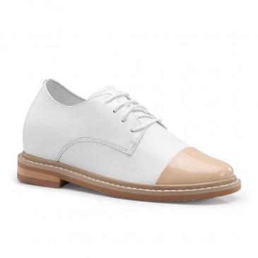 CHAMARIPA รองเท้าลิฟต์ผู้หญิงส้นซ่อนส้นรองเท้าผู้หญิงหนังลูกวัวสีขาว 7CM
