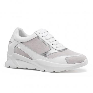 รองเท้าผ้าใบลิฟต์ผู้หญิง CHAMARIPA หนังสีขาวรองเท้าเพิ่มความสูงสำหรับสุภาพสตรี 7CM