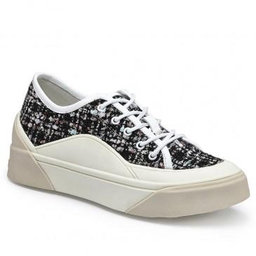 CHAMARIPA รองเท้าผ้าใบส้นเตารีดสำหรับผู้หญิงรองเท้าผ้าใบส้นเตารีดรองเท้าหนังหลากสีสูง 6 ซม