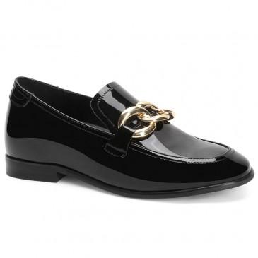 Chamaripa รองเท้าส้นเตี้ยสตรีรองเท้าส้นเตารีดหนังสีดำ 5 ซม