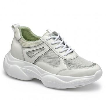 CHAMARIPA รองเท้าผ้าใบส้นเตารีดสำหรับผู้หญิงรองเท้าผ้าใบทรงลิ่มสีขาวตาข่ายระบายอากาศรองเท้าผ้าใบสูง 7 ซม