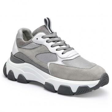CHAMARIPA รองเท้าผ้าใบทรงลิ่มสำหรับผู้หญิงแฟชั่นรองเท้าผ้าใบหนังนิ่มสีเทาทำให้คุณสูงขึ้น 7 ซม