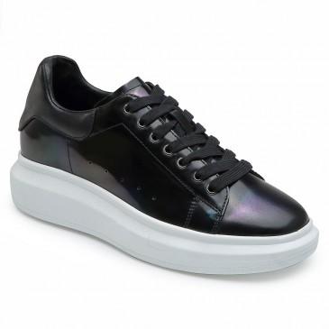 CHAMARIPA รองเท้าส้นสูงสำหรับผู้หญิง รองเท้าผ้าใบทรงลิ่มสีดำ รองเท้าผ้าใบหนัง สูง 6 ซม.