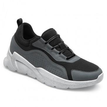 CHAMARIPA ลิฟท์ รองเท้าผู้หญิง แพลตฟอร์ม เวดจ์ รองเท้าผ้าใบ สีเทาเข้ม หนังและตาข่าย รองเท้าผ้าใบ สูง 6 ซม.
