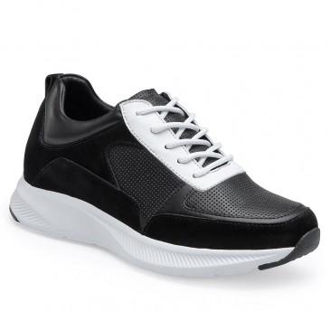 CHAMARIPA รองเท้าผ้าใบส้นเตารีดสำหรับผู้หญิง - รองเท้าเทนนิสทรงลิ่ม - รองเท้าผ้าใบหนังสีดำผู้หญิงสูง 7 ซม