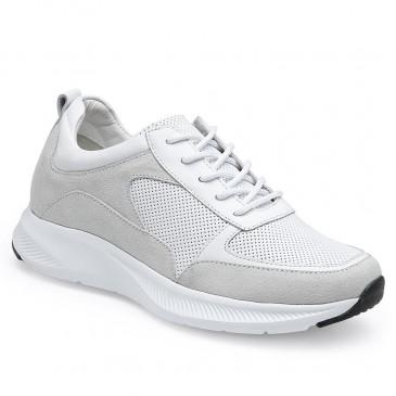 CHAMARIPA รองเท้าผ้าใบส้นเตารีดสำหรับผู้หญิง - รองเท้าเทนนิสทรงลิ่ม - รองเท้าผ้าใบหนังสีขาวผู้หญิงสูง 7 ซม