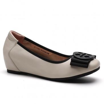 CHAMARIPA รองเท้าไม่มีส้นทรงลิฟต์สำหรับผู้หญิงรองเท้าเพิ่มความสูงสำหรับสุภาพสตรีหนังลูกวัวสีเบจ 5CM