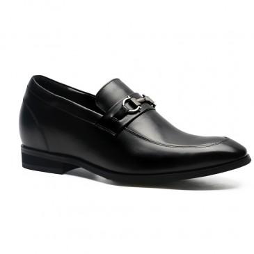 รองเท้าคัทชูส้นเตี้ยโลฟเฟอร์สีดำเพิ่มความสูง 7 ซม