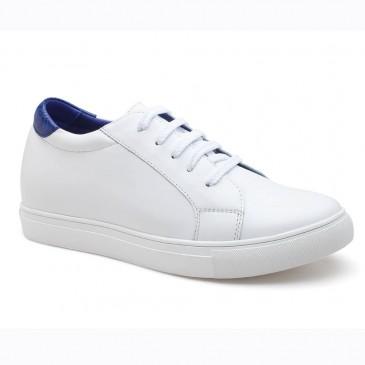 รองเท้าลิฟท์ - ผู้หญิงรองเท้าส้นสูงสีขาวที่มีความสูงรองเท้าส้นสูงเพื่อเพิ่มความสูง 7 ซม
