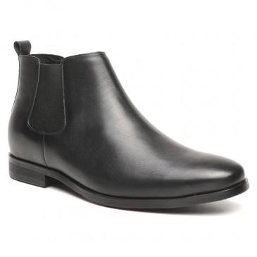 รองเท้าเสริมส้น - รองเท้าส้นสูงสำหรับผู้ชายความสูงรองเท้าบู๊ตเชลซีผู้ชายรองเท้าหนังแท้สีดำ 6 ซม
