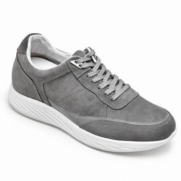 CHAMARIPA รองเท้าเพิ่มความสูงสำหรับผู้ชายหนังนิ่มสีเทารองเท้าส้นซ่อน 7CM