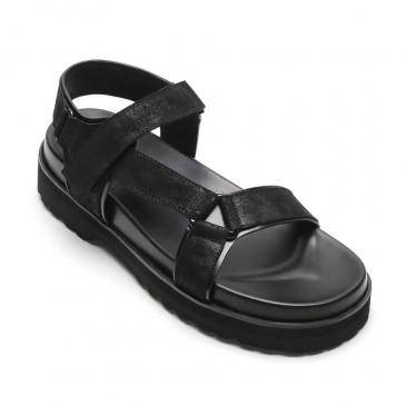 Chamaripa รองเท้าแตะลิฟท์หนังสีดำเพิ่มความสูงรองเท้าแตะแฟชั่นลำลองรองเท้าแตะลิฟท์ 6CM