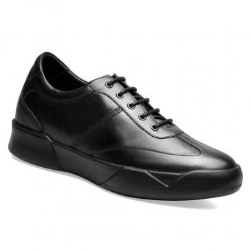 รองเท้าเสริมพื้นสูง - รองเท้าส้นสูงแบบมีสายสำหรับผู้ชายรองเท้าส้นเตารีดสีดำมีความสูง 7 ซม