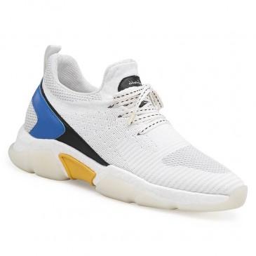 Chamaripa เพิ่มความสูงรองเท้าผ้าใบถักรองเท้าลิฟท์ส้นซ่อนส้นรองเท้าสำหรับผู้ชายสีขาว 7CM / 2.76 นิ้ว