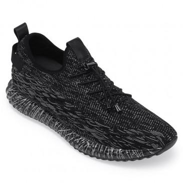 รองเท้าผ้าใบสีดำเพิ่มความสูงให้ความสูง 7 ซม