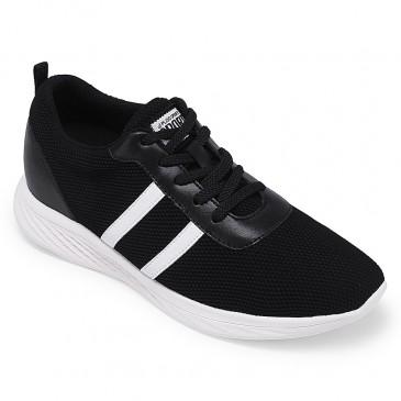 รองเท้าผ้าใบหุ้มข้อสีดำรองเท้าผ้าใบยกความสูง 6 ซม