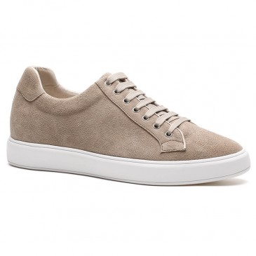 Chamaripa height เพิ่มความสูงรองเท้าหนังกลับ Leather Apricot Sneakers ที่เพิ่มความสูง 6 ซม