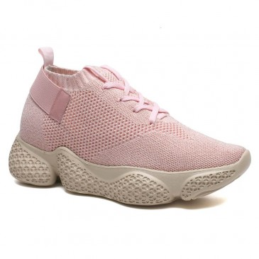 รองเท้าเพิ่มความสูงซ่อนส้นสูงรองเท้าผู้หญิงสีชมพูถักรองเท้าผ้าใบ 7 ซม