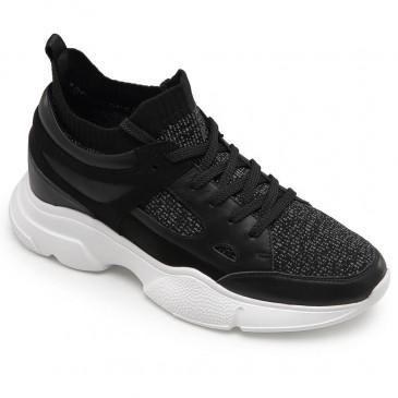 CHAMARIPA รองเท้าเพิ่มความสูงสำหรับผู้ชายรองเท้าหุ้มส้นแบบซ่อนรองเท้ากีฬาสีดำ 8 CM
