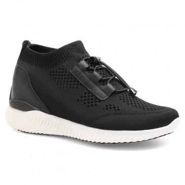 รองเท้าลิฟท์ - รองเท้าส้นสูงสีดำสำหรับผู้หญิงถักรองเท้าผ้าใบยกรองเท้าผ้าใบ 8 ซม