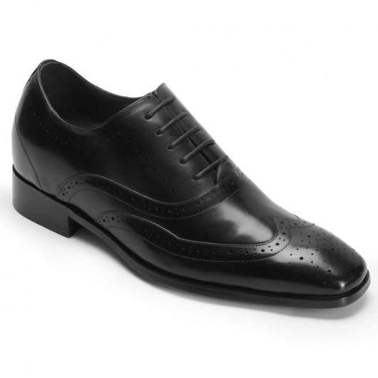Chamaripa schoenen met verhoogde hiel hoge hakken voor mannen nette herenschoenen zwart