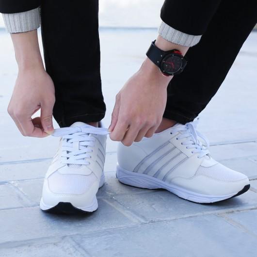 Chamaripa verhogende schoenen herenschoenen met verhoogde hak Witte 8.5 CM Langer