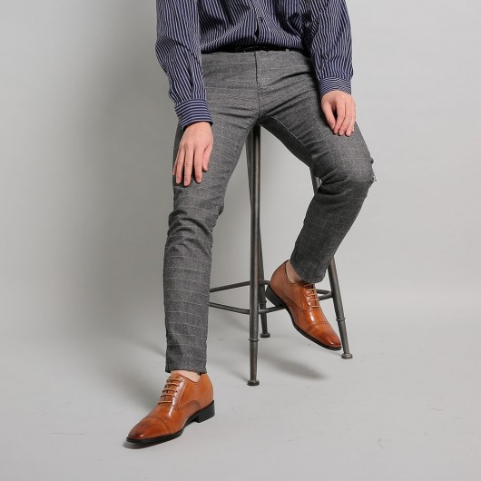 Chamaripa onzichtbaar verhoogde schoenen maken mannen langer 7 CM Bruin kleding schoenen