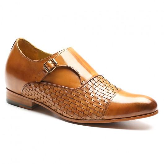 Chamaripa Verhogende Schoenen mannen schoenen met ingebouwde hak Aangepaste heren kleding schoenen Bruin 7 CM Langer