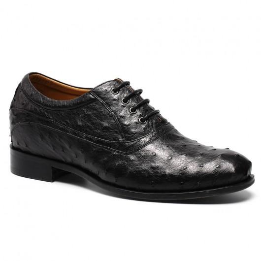 Luxe Hoogte Toenemende Schoenen voor Mannen Struisvogelleer Liftschoenen Zwart 7.5 CM / 2.95 Inches