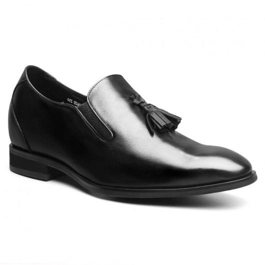 Chamaripa Verhogende Schoenen heren instappers Verhoogde Zolen voor Mannen Zwart  7 CM Langer