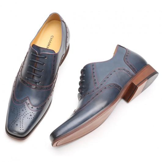 CHAMARIPA herenschoenen met verhoogde hak blauwe vleugeltip Oxford verhogende schoenen 7CM