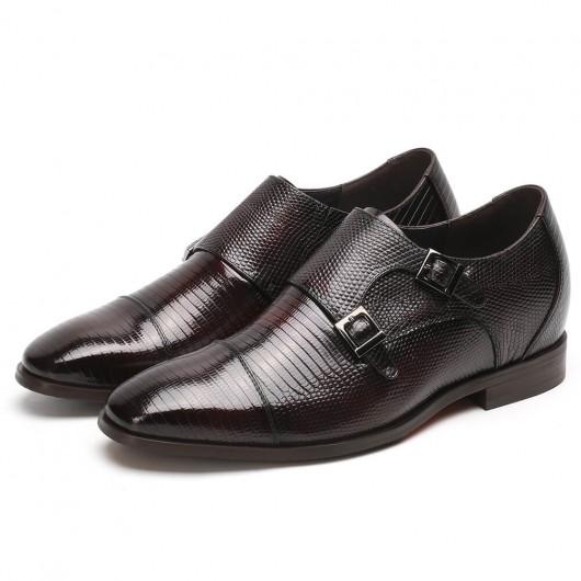 Chamaripa verhoogde schoenen verhogende schoenen grijze hagedis leren schoenen 7CM