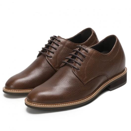 Chamaripa verhoogde schoenen heren schoenen met verborgen hak bruin derby schoenen die je langer maken 8CM