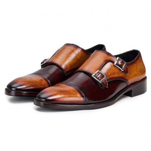 CHAMARIPA verhoogde schoenen voor mannen - heren schoenen met hoge hak - handgemaakte dubbele monniksband bruin 7CM