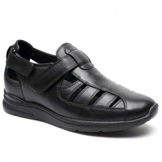 Chamaripa schoenen met verhoogde binnenzool verhoogde inlegzolen heren sandalen wart 6 CM Langer