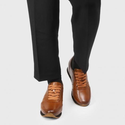 CHAMARIPA verhogende schoenen heren schoenen met verborgen hak sleehakken sneakers bruin kalfsleer 7CM