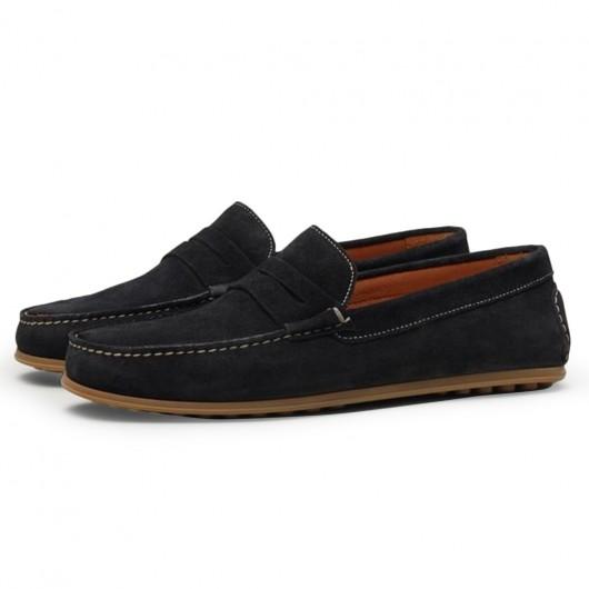 CHAMARIPA verhoogde schoenen zwarte suède instappers verhogende schoenen voor mannen 7CM